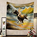 Niasjnfu Chen Custom tapestry the Girl Skipping on a Horse on Seacoast - Fabric Wall Tapestry Home Decor