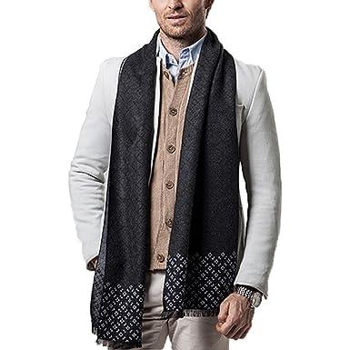 d02efe19e Echarpe Homme Hiver Longue en Cachemire d'imitation à Carreaux Chaude avec  Franges Epaisse Doux 180*30cm