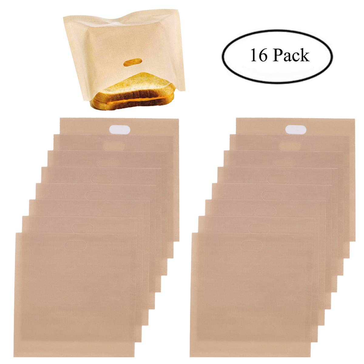 Homezal Non Stick Reusable Toaster Bags, 6.5 x 6.3 Inch, Beige, Pack of 16