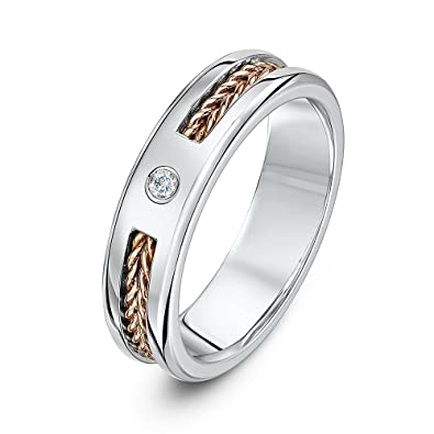 Theia His And Hers 14 Ct Rose And White Gold Two Tone 5 Mm Wire