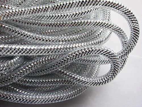 (YYCRAFT One Roll 30 Yards Solid Mesh Tube Deco Flex for Wreaths Cyberlox Crin Crafts 8mm 3/8-Inch (Silver))