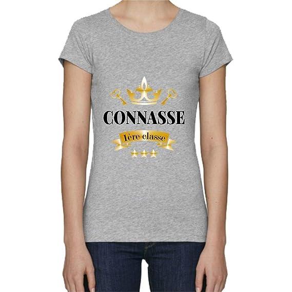 b965d4c344ed5 My-Kase T-Shirt Premium - Premiere Classe Connasse - Femme - Gris -