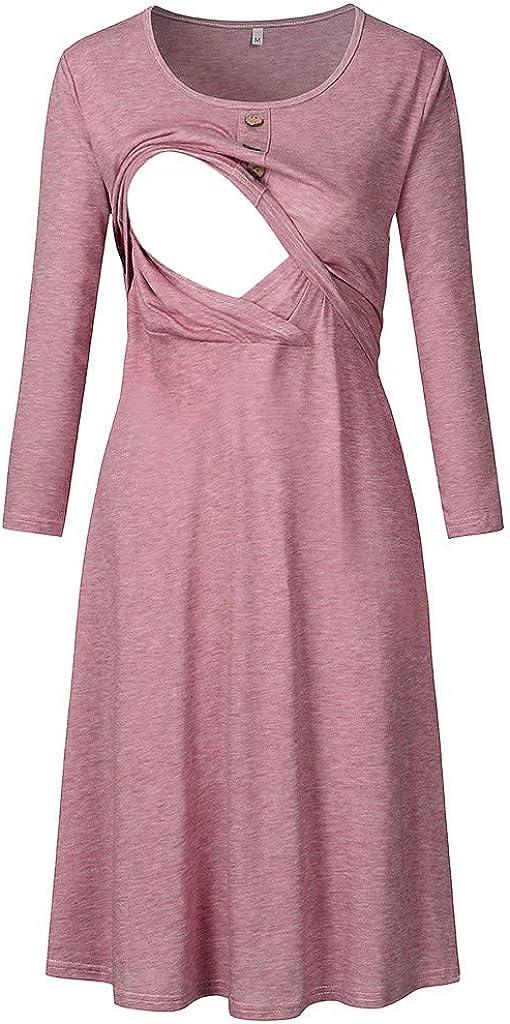 ZOMUSAR Maternity Dress Women Maternity Casual Long Sleeve Button Nursing Dress for Breastfeeding