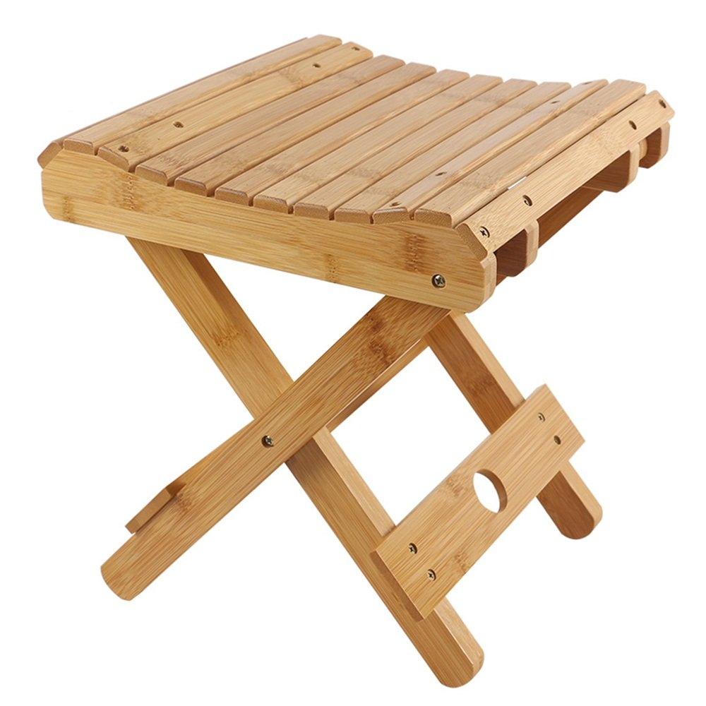 262931.5cm Bamboo folding stool portable home solid wood Mazar outdoor fishing chair small stool (Size   23  21.7  29cm)