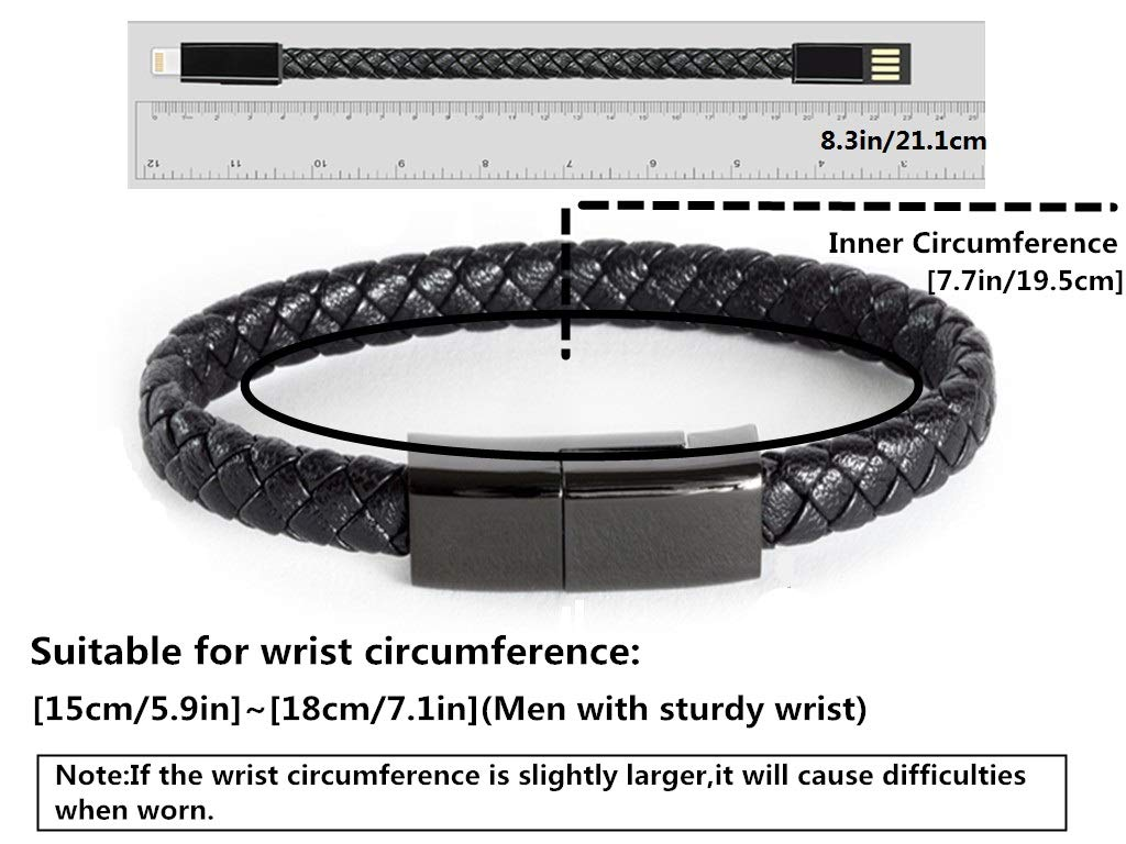Pulsera USB Cable de Carga Pulsera de Datos Cortos Cable de Carga port/átil de Cuero Cable de Carga Large