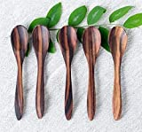 Bali Harvest Set of 5 Handmade Wooden Spoons | Rosewood | Eco Friendly | Baby Spoons | Dessert Spoons | Coffee Tea Spoons | Ice Cream Spoons | Cereal Spoons | Vegan Gift | Natural Finishing