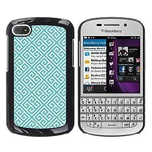 For BlackBerry Q10 Case , Links Pattern Green Wallpaper - Diseño Patrón Teléfono Caso Cubierta Case Bumper Duro Protección Case Cover Funda
