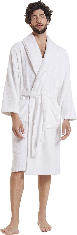 SIORO Herren Handtuch Terry Baumwolle Robe Schal Kragen Verbandkleid Weich Warm Hotel Spa Bademantel Wadenl/änge Hausmantel