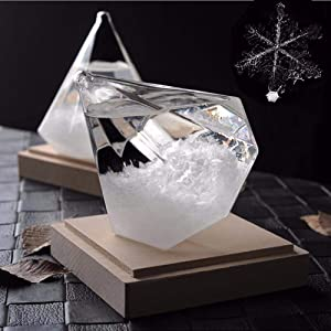 Transparent Ice Diamond Storms, Barometer Home Decor, Glass with Pure Wooden Base, Weather Predictor, Creative Choice, Most Unique Decorations on Various Occasion.