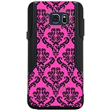 CUSTOM Black OtterBox Commuter Series Case for Samsung Galaxy Note 5 - Pink Black Damask Pattern