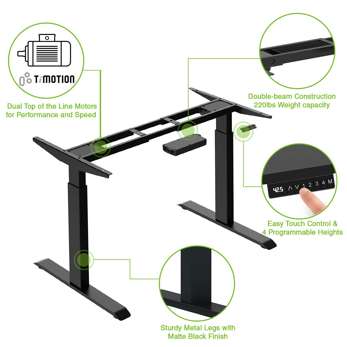AdvanceUp 47'' Height Adjustable Electric Stand Up Office Desk Base Frame, Dual Motor Ergonomic Standing Workstation, Black | Frame Only | 47''x63'', Up to 220 lbs. Capacity| Adj. Width up to 63'' by AdvanceUp