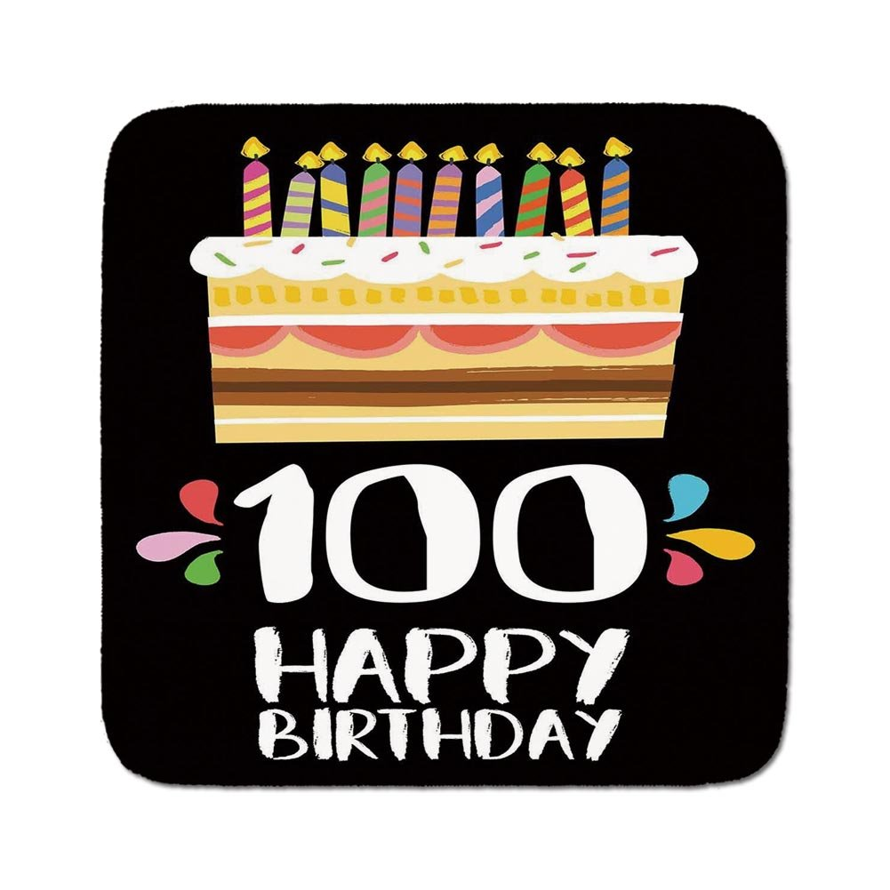 Cozy Seat Protector Pads Cushion Area Rug100th Birthday DecorationsOld Legacy 100 Party Cake Candles On Black BackdropMulticolorEasy To Use