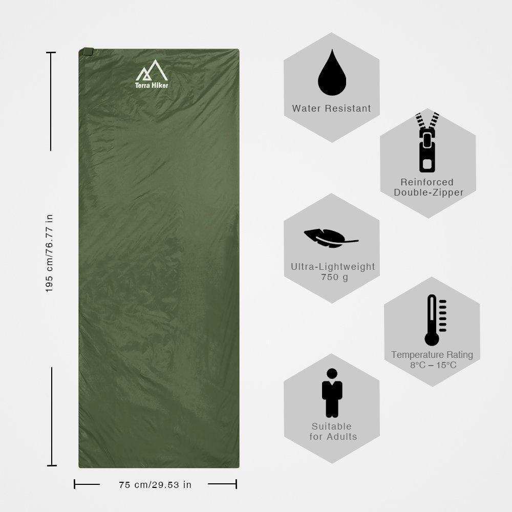 Terra Hiker Saco de Dormir por 3 Temporadas, 750g, Ultra-Compacto y Ligero, 8 °C - 15 °C, 195 cm x 75 cm, para Viajes, Camping, Senderismo, Escalada (Verde ...