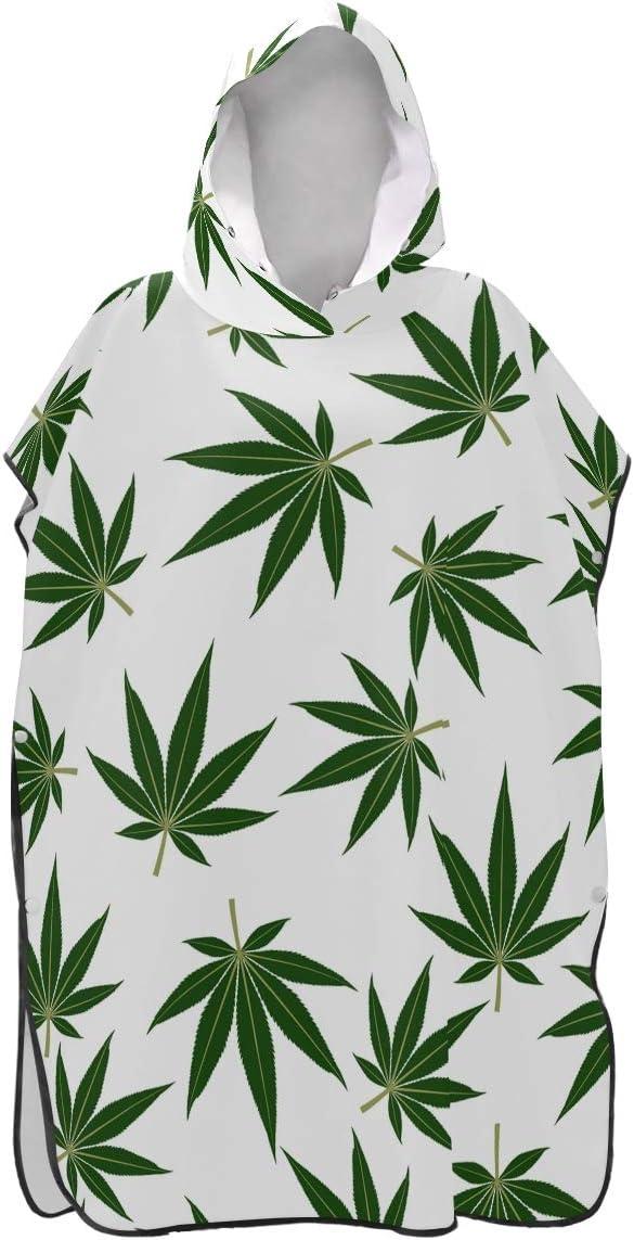 LORONA - Toalla de Playa con diseño de Hojas de Marihuana y Cannabis, Secado rápido, para Cambiar Albornoces de Hombres y Mujeres, con Capucha, para Hacer Snorkel