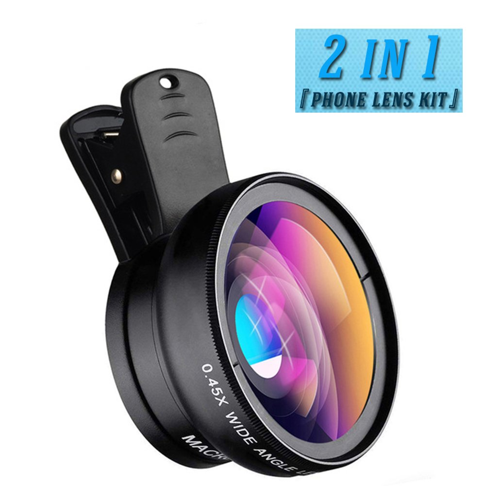 Cell Phone Camera Lens kit, 2 in 1 0.45X Super Wide Angle Lens 12.5X Macro Lens, Clip On Lens Attachment Kit iPhone 8, 7, 7 Plus,6s, Samsung Android Most Smartphone