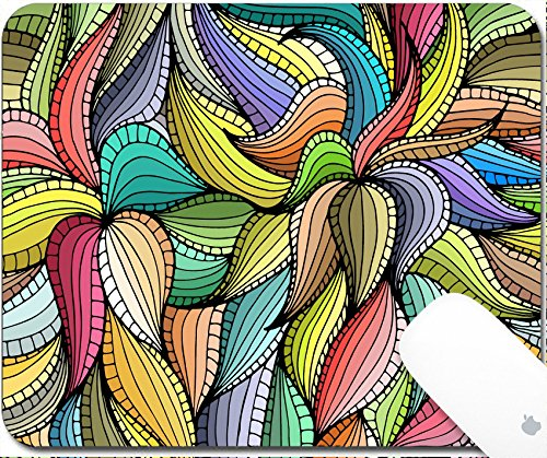 Luxlady Gaming Mousepad 9.25in X 7.25in IMAGE: 38428669 Abstract hand drawn seamless pattern with colorful vegetation Leaves Can be for desktop wallpaper or for a poster for pattern fills surface te (Wallpaper Creative Leaves)