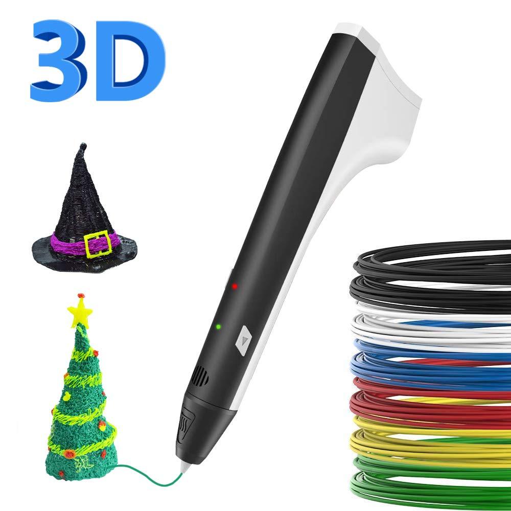SUNLU 3D Pen,PLA Filament Refills,3D Printing Pen【M1 Newest Version】, 3D Drawing Doodle Printer Pen Bonus 4 Color PLA,3D Pen Drawing Stencils-Black 3D Printing Pen【 M1 Newest Version】