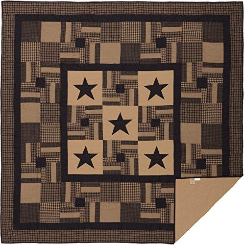 - VHC Brands Primitive Bedding Black Check Star Quilt, Queen,