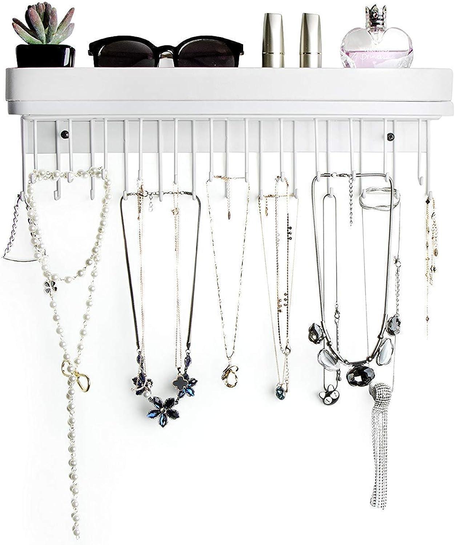 Jackcubedesign Hanging Jewelry Organizer Necklace Hanger Bracelet Holder Wall Mount Necklace Organizer With 25 Hooks White Amazon Ca Jewelry