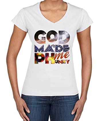 2ebc42070ef1 Tribal T-Shirts Womens God Made Me Phunky Disco Large Print V Neck T-Shirt:  Amazon.co.uk: Clothing