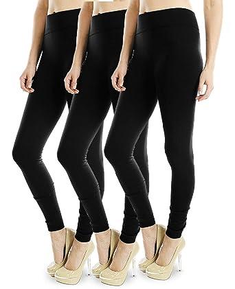 52538a2669cfa Energi Full Length Leggings Fleece or Thermal Faux Fur Lining (Free, Black (3Pk