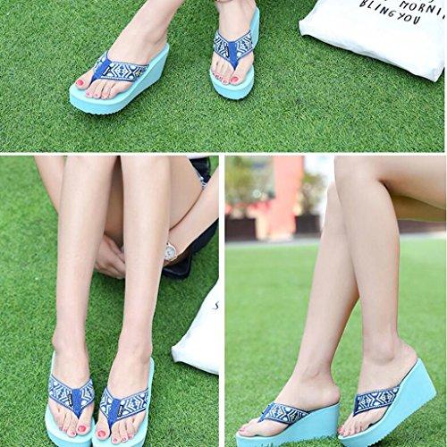 blu Beach Tacchi Eva Toe in Wear Pantofole Outdoor Fashion Fondo Ms gomma Scarpe con Slip tacco alti Summer Clip spesso Sandali fwxZApqAR