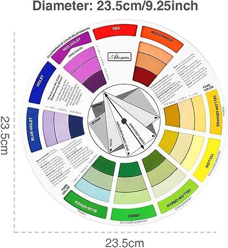 IPOTCH Guida alla Miscelazione della Ruota dei Colori 5X Guida alla Pigmentazione dei Colori