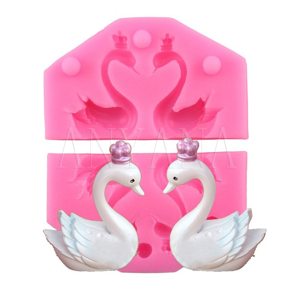 Anyana 3D Swan Lovers Candy Silicone Mold for Sugarcraft, Cake Decoration, Cupcake Topper, Fondant, Jewelry, Polymer Clay, Crafting Projects, Non stick easy to use