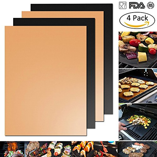 Fire Resistant Plastic (Grill Mat - Set Of 4 Non-Stick BBQ Grilling & Baking Sheet - FDA Approved,Durable,Teflon,Reusable PTFE Coated Cooking Liner - Works on Gas,Charcoal,Electric Barbecue - 16.75''x13''(2 Black+2 Copper))