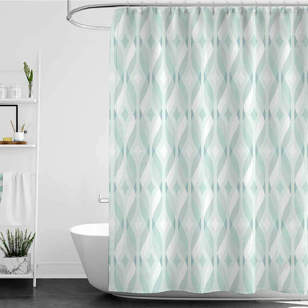 Tim1Beve Long Shower Curtain,Seafoam Tangled Lines with Rhombus Pattern Symmetrical Geometric Composition,Shower Hooks are Included,W72x96L Pale Blue Seafoam White