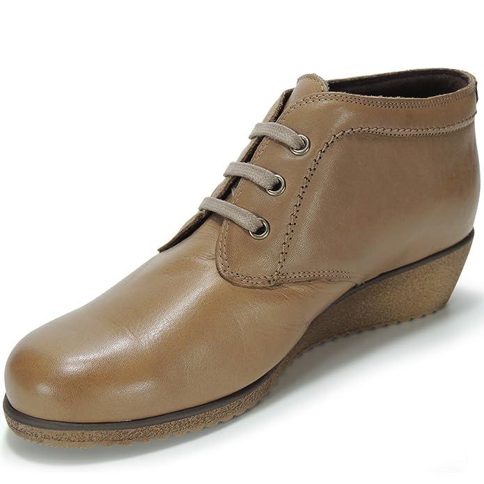 Botín Cordones Cuña 4Cm para Mujer - Modelo 60TP: Amazon.es: Zapatos y complementos