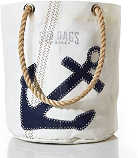 "product image for Sea Bags Recycled Sail Cloth Navy Anchor Beverage Bucket Bag - Collapsible Cooler - Recycled Sail Cloth Bucket Bag - 9.5""h x 7""w"