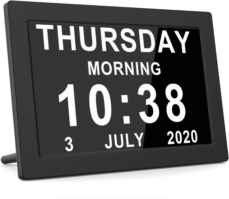 Vefaii Dementia Clocks Calendar Clock Day Date Clock Digital Clock With Large Clear Digits Display Alarm Clock With Hd Digital Photo Frame Black Amazon Co Uk Kitchen Home