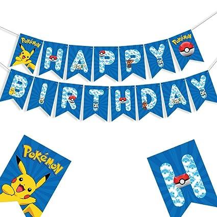 Amazon Com Pokemon Happy Birthday Banner Pikachu Birthday Party
