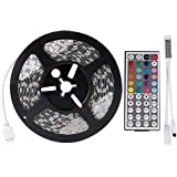 LEDMO Flexible LED Light Strip kit,16.4Ft 5M Non-waterproof 300LEDs RGB Color Changing LED Strip Light + 44Key IR RGB Remote Controller