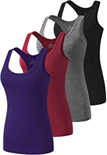 Cosy Pyro Workout Tank Tops for Women Racerback Yoga Tanks Basic Athletic Activewear-4 Packs