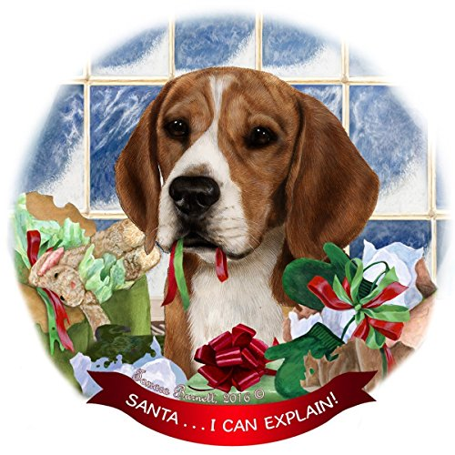Beagle Dog Porcelain Hanging Ornament Pet Gift 'Santa.. I Can Explain!' for Christmas Tree and Year Round