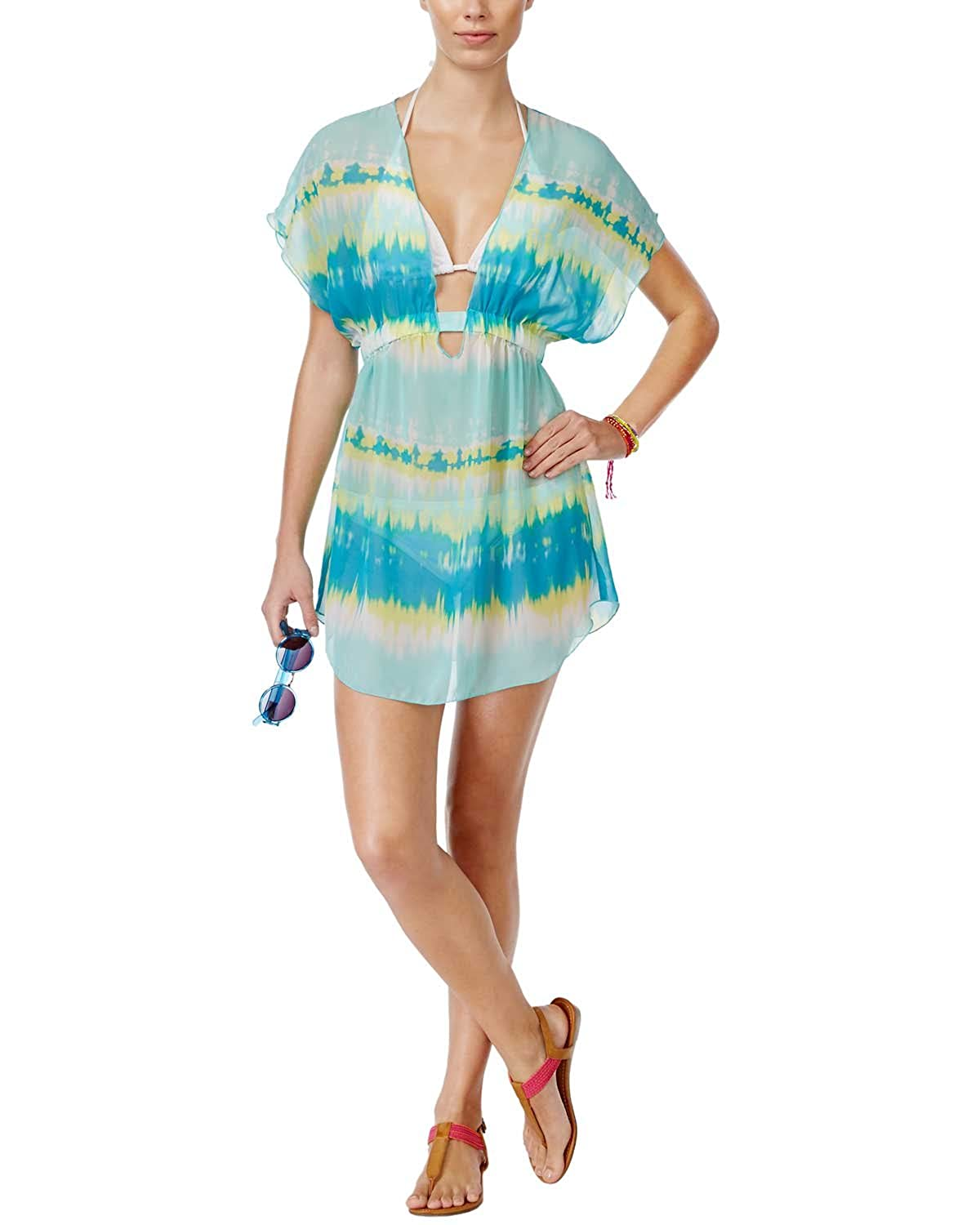 5493bf8592 Miken Smocked Tie-Dye Sheer Cover-Up Junior's Swimsuit, Mermaid Aqua ...