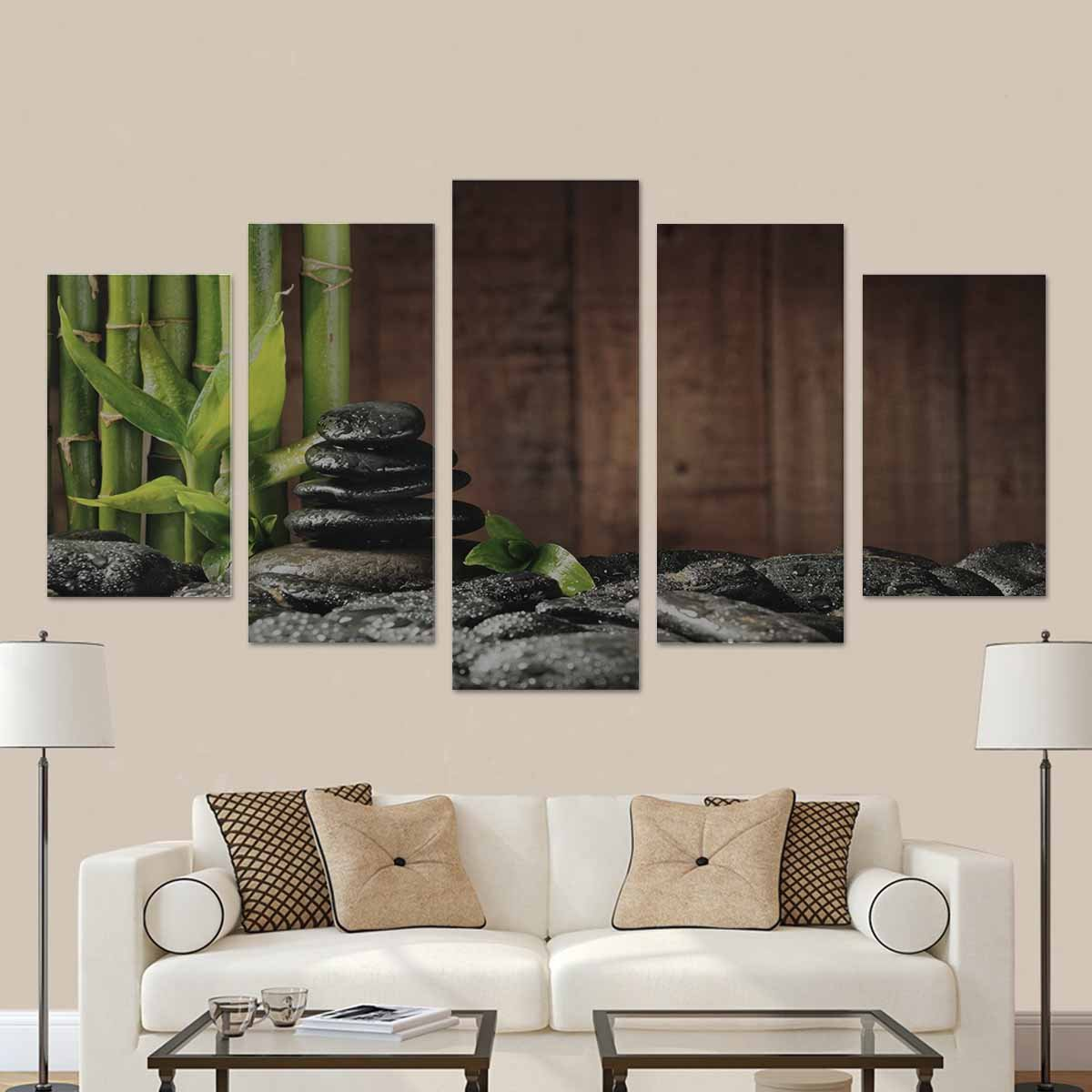 InterestPrint Spa Concept Bamboo Grove and Black Zen Stones on the Old Wooden Country House Image 5 Pieces Home Decor Wall Art Paintings for Modern Living Room (No Frame)