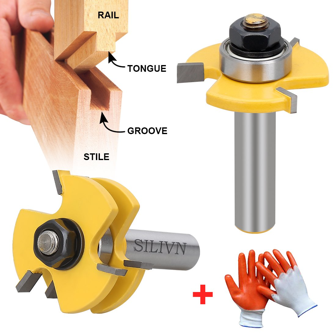 SILIVN Tongue and Groove Set, Router Bit Set, Wood Door Flooring 3 Teeth Adjustable, 1/2 Inch Shank T Shape Wood Milling Cutter Woodworking Tool, 2 Piece by SILIVN (Image #1)