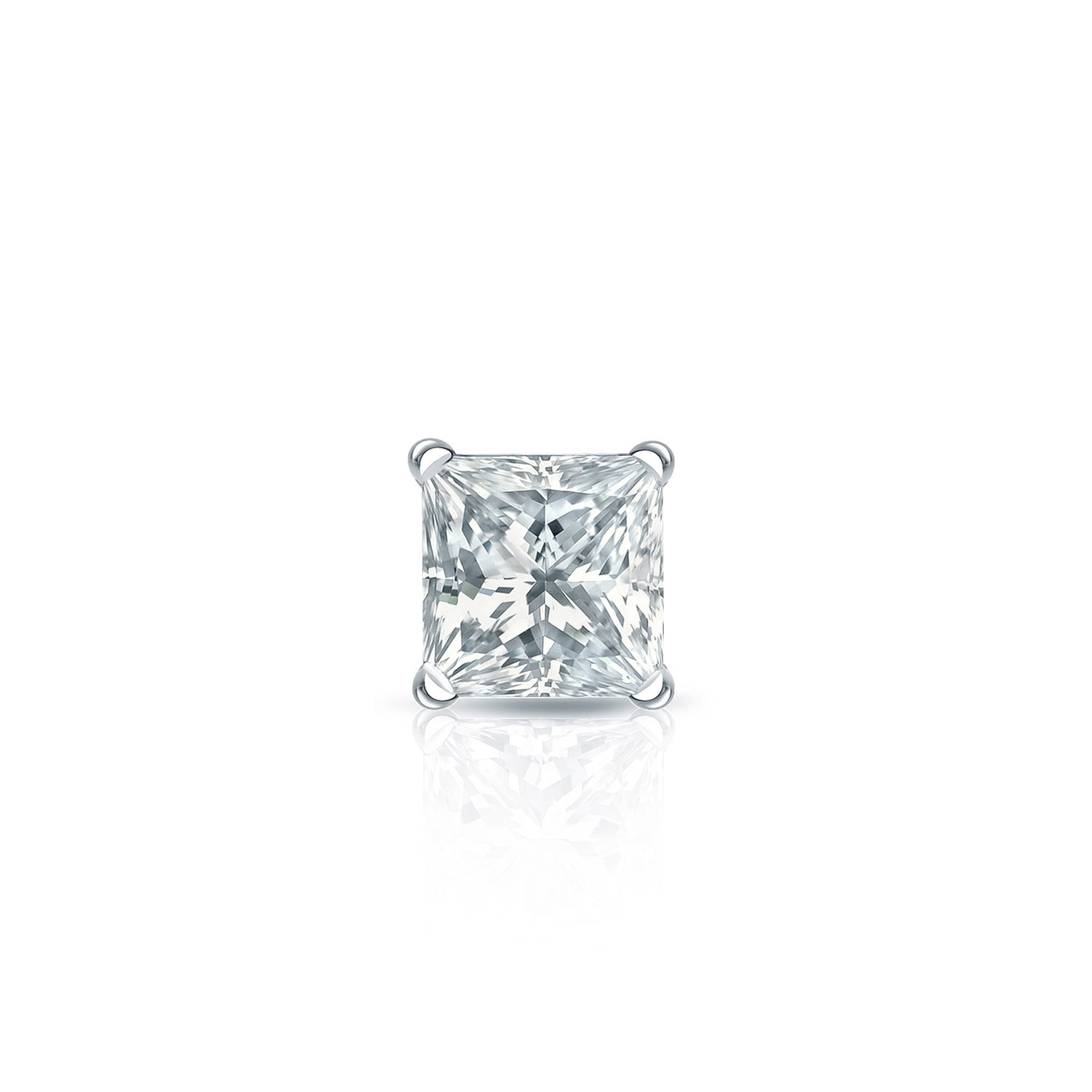 1//8-1ct,Excellent Quality 14k White Gold Princess Diamond Simulant CZ SINGLE STUD Earring 4Prong