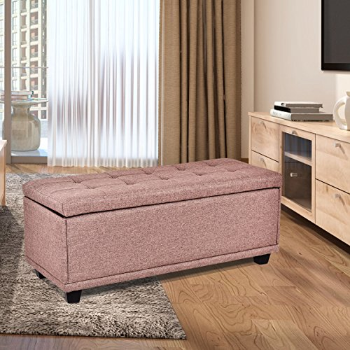 "Giantex 40"" Storage Ottoman Bench Modern Storage Chest Rectangular Single Ottoman Footstool Linen Padded Seat Wood Bed Bench Seat Box (Brown)"