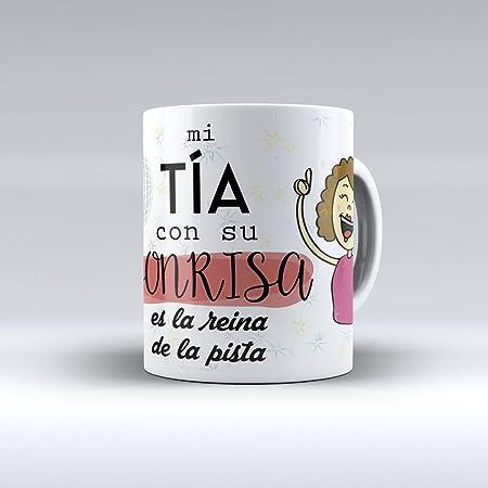 APRIL Taza cerámica Desayuno Regalo Original cumpleaños tía Mi tía con su Sonrisa es la Reina de la Pista
