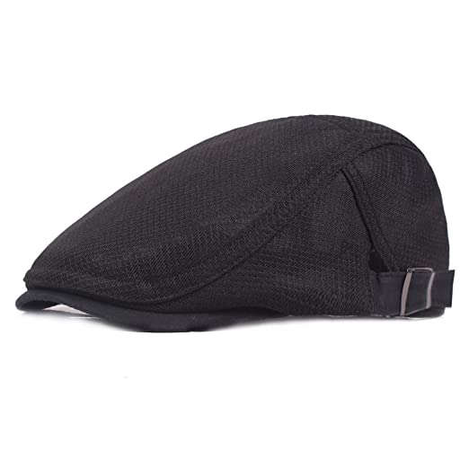 ae6d9301d4c1 Men's Breathable Mesh Summer Hat newsboy Beret IVY Gatsby Cabbie Flat Snap  Cap Black