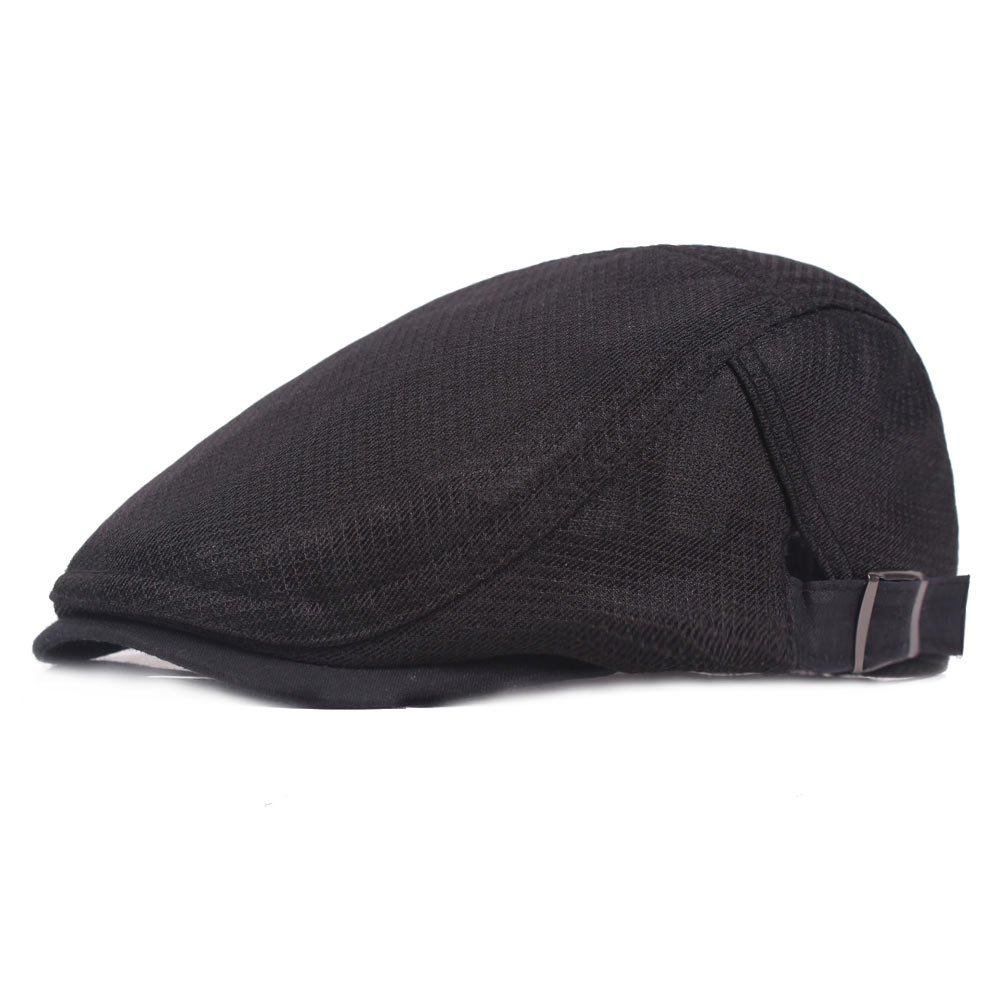 Men's Breathable Mesh Summer Hat newsboy Beret IVY Gatsby Cabbie Flat Snap Cap Black