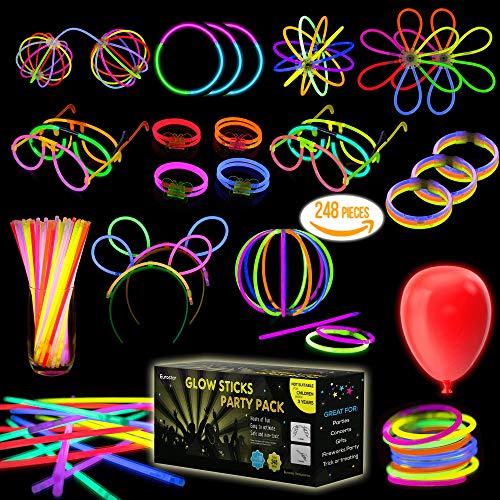"Multicolor Glow Sticks Bulk Party Pack – 248 Piece Light Stick Set – Includes 100x 8"" Glow Sticks, 10x 11"" Glow Sticks, 4x 3 Hole Joints, 110x Connectors, 4x Butterfly Bracelets, 5x Ball Joint"