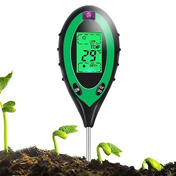 Sopoby 4 en 1 medidor de sensor de humedad del suelo, monitor de agua del suelo, ...