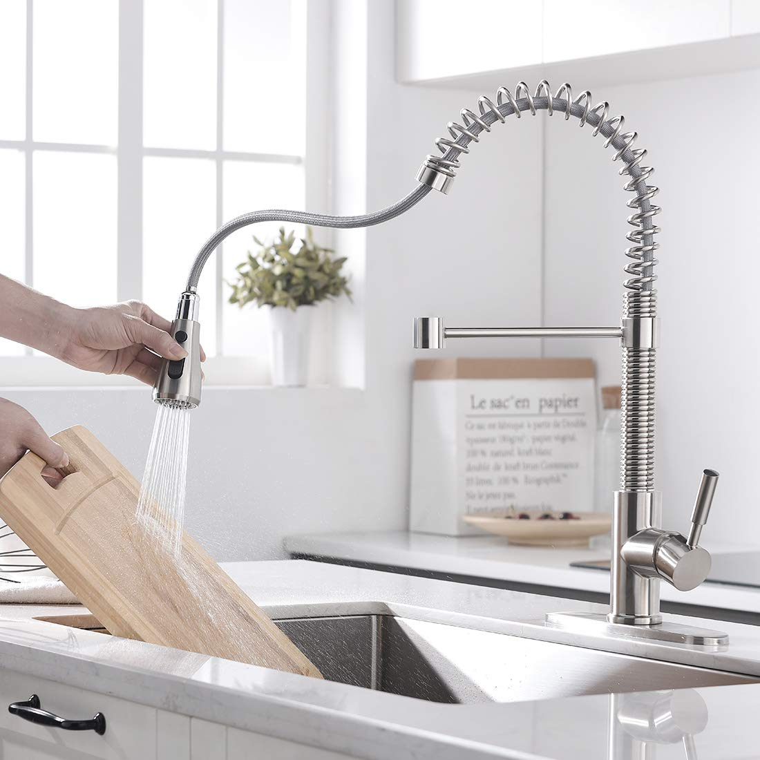 """ENUS 1016SS Single Handle 20"""" Height Commercial Kitchen Faucet with Pasue Button Spray Pull Down Kitchen Sink Faucets with Deck Plate, Brushed Nickel by ENUS (Image #2)"""