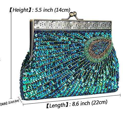 Handbag Bags Wedding Bridal Glitter for Party amp; Beaded Ball Handmade Peacock Evening Exquisite Women Fadirew Silver Bag Ladies Vintage Beads Cluth Sequin Bag Zw8q65pxU