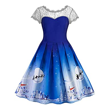 Women Dress, Sexyp Vintage Formal Prom Party Ball Gown Dress Christmas O Neck Patchwork Swing